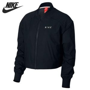 Women's Nike Mesh-Top Bomber Jacket- BLACK